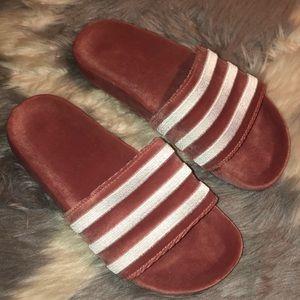 Adidas velvet slippers